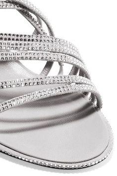 Balenciaga - Crystal-embellished Suede Sandals - Gray - IT39.5
