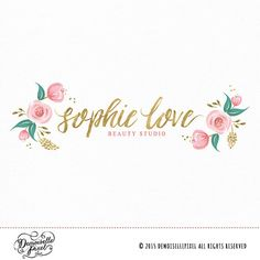 Hand Painted Floral Logo Design + Brush Calligraphy  This logo is perfect for photography, website & blog banner design