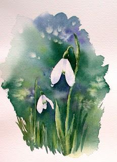 'Two Snowdrops after rain' Photographic Print by Ann Mortimer Watercolor Sketchbook, Watercolor Projects, Easy Watercolor, Watercolour Tutorials, Watercolor Cards, Watercolour Painting, Watercolor Flowers, Watercolors, Art Floral