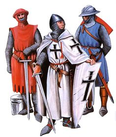 """""""• Knight, c. 1230 • Teutonic knight, c. 1250 • Man-at-arms, c. 1250"""", Christopher Rothero"""