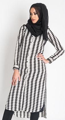 Monochrome Shirt Dress #WhatsNew #NewArrivals #Style #Fashion #WomensStyle #Hijab #Abaya http://www.aabcollection.com/shop/product/monochrome-shirt-dress/726