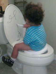 potty training idea, give child a dry-erase marker.. they will sit here longer