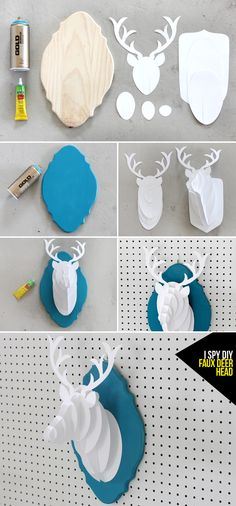 MY DIY | PAPER DEER BUST. I found the backing at the craft store, and with a little spray paint, I created a little something for my wall in my color scheme. You can download the pattern and directions here, and after assembling one, you become an expert and can make a million (I decided to do without instructions…I am even worst when it comes to Ikea furniture). Small ones would be super cute party favors, no? More after the break!