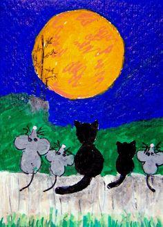 ACEO TW SEP Harvest Moon mice cats fence Autumn Fall Original whimsical cartoon #Miniature   #aceo #art #eBay #harvestmoon #cats #mice