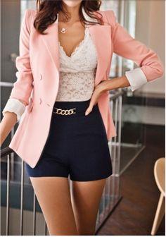 I loveee this Outfit...... Shrug Drape Hem Blazer - Pink + Black Short + Lace Shirt = Fashion