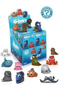 Disney-Pixar continues the tale of Finding Nemo with Finding Dory! Some of the most iconic characters like Dory, Nemo, and Marlin are now adorably stylized blind-packaged mini-figures! The Finding Dory Mystery Minis Display Case includes - Dory, Hank, Nemo, Marlin, Bailey, Destiny and more! Each order only includes ONE mini figure. Which one will you get? Collect them all! Ages 3 and up. #funko #vinyl #actionfigure #collectible #FindingDory