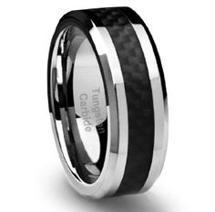 8MM Men's Tungsten Carbide Ring Wedding Band with Black Carbon Fiber Inlay! Sweet!