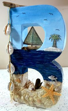 Decoupatch Letter B with boat and sea theme by Michelle Webb The Hobby Room UK Altered Decopatch letter Ocean Crafts, Beach Crafts, Seashell Art, Seashell Crafts, Hobby Room, Hobby Lobby, Hobby Horse, Paper Crafts, Diy Crafts