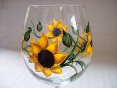 Large Wine Glass hand painted with bright yellow Sunflowers and vines and leave of dark green and soft yellow