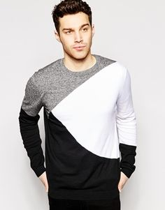 881c6d218e92a ASOS Sweater with Color Block Design at asos.com