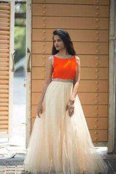 full length gown with orange yoke