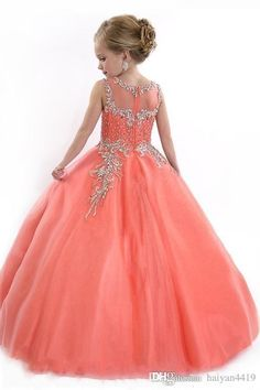 New 2015 Little Girls Pageant Dresses Princess Tulle Sheer Jewel Crystal Beads White Floor Length Coral back Coral Flower Girl Dresses, Little Girl Pageant Dresses, Gowns For Girls, Wedding Dresses For Girls, Pageant Gowns, Flower Girls, Girls Dresses, Prom Dresses, Bridesmaid Dresses