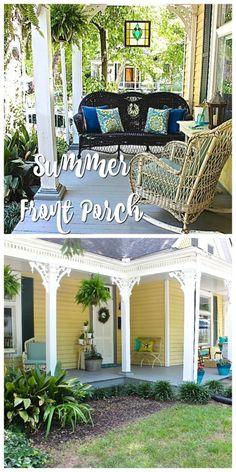 Summer Front Porch Garden Tour – 2 Bees in a Pod - Modern Front Porch Garden, Summer Front Porches, Summer Porch, Porch Swing, Balcony Garden, Summer Garden, Garden Planters, Herb Garden, Tropical Backyard