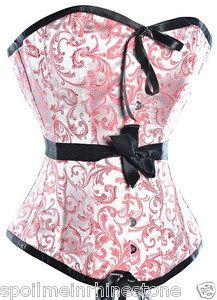 Pretty in pink and black ribbon corset.  Sweetheart neckline, stainless steel busk front closure.  $29  #burlesque #lingerie