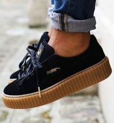 Black Rihanna for Puma Creeper Sneakers With a Platform Sole. SHOP SNEAKER VILLA http://spotpopfashion.com/s7on