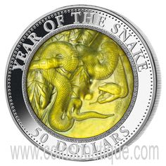 Silver Coins-Year of the snake Mother Of Pearl 5 oz Silver Coin Cook Islands 2013 Year Of The Snake, Year Of The Monkey, Cook Islands, Silver Coins, New Zealand, Zodiac, Pearls, Fiji, Paper