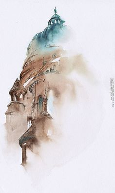 Bangkok-based Korean artist, graphic designer and illustrator Sunga Park has been travelling the world lately. Well, she's been creating soothing watercolor paintings of Watercolor City, Watercolor Landscape, Watercolor Paintings, Watercolours, Bangkok, Art Aquarelle, Watercolor Architecture, A Level Art, Urban Sketching