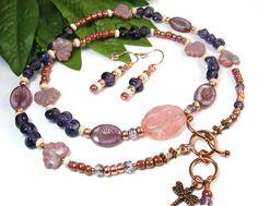 Boho Wrap Bracelet Necklace, Beaded Dragonfly Wrap Bracelet, Matching Earrings, Unique Jewelry Set, Copper Pink Purple, Nature Inspired OOAK