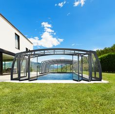 Patio enclosures, pool enclosures and hot tub enclosures in wide variety of shapes and colours from Pool and Spa Enclosures Swimming Pool Enclosures, Patio Enclosures, Swimming Pools, My Pool, Pool Spa, Retractable Pool Cover, High Line, Cool Pools, Water Sports