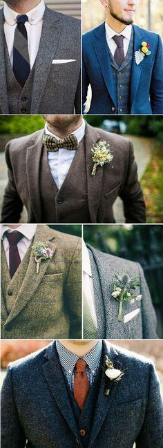 Grooms in tweed. #men #groom #outfit #wedding #inspiration