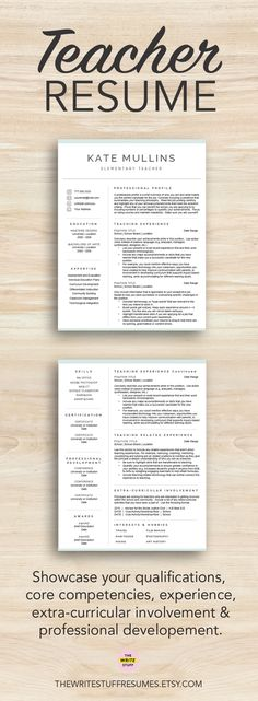 Elementary Teacher Resume Template For Word & Pages, 1 - 3 Pages
