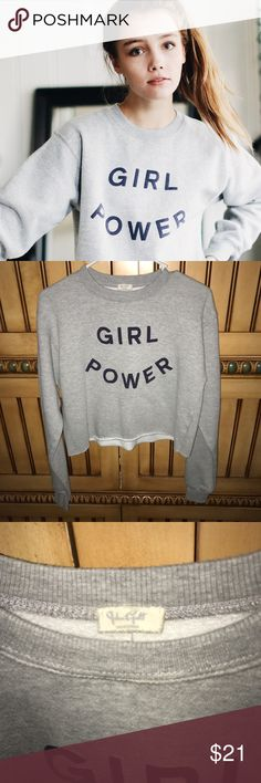 JGALT girl power cropped hoodie No flaws. Priced to sell fast Brandy Melville Sweaters Crew & Scoop Necks