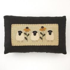 ~Primitive Style~SHEEP & BROWN EYED SUSAN~ APPLIQUE~FELT~PILLOW~Great GIFT~cUTe~   eBay