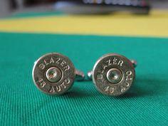 Hmmm... Best man gift? Manly .45 Caliber Brass Casing Cufflinks by LoudCufflinks on Etsy, $15.00