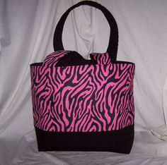 Pink Zebra Animal Print Tote, Purse,  Diaper Bag five inside pockets perfect to carry everything you need, pink and black by lisalynnitems on Etsy