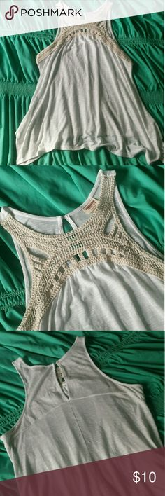 Mossimo Tank w/ Crochet Detail Very cute! Body: 50% Polyester, 50% Rayon Crochet: 94% Cotton, 6% Nylon Please feel free to make a reasonable offer Mossimo Supply Co Tops
