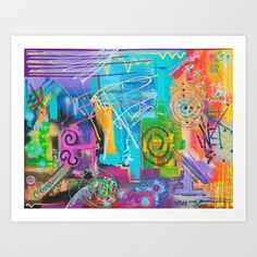 Vivid Thoughts is an original abstract painting created with acrylic and spray paints on canvas. Gifts For Art Lovers, Spray Paint On Canvas, Fine Art Prints, Thoughts, Abstract, Artist, Artwork, Painting, Summary