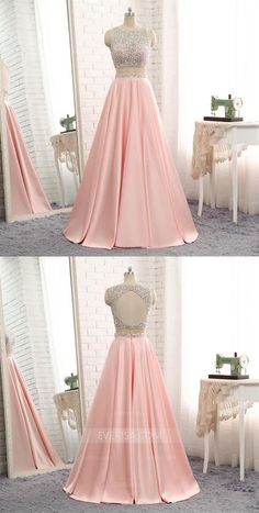 Scoop Neck Sleeveless Beaded Prom Dresses,Two Pieces Evening Dresses Pretty Prom Dresses, Cheap Prom Dresses, Ball Dresses, Homecoming Dresses, Cute Dresses, Sparkly Dresses, Quinceanera Dresses, Ball Gowns, Indian Gowns Dresses