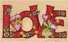 Mary Engelbreit Christmas Love Rubber Stamp - Click Image to Close