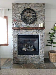 These DIY fireplace makeover ideas are SO GOOD! I'm so glad I found these DIY fireplace with stacked stone ideas for a gas fireplace makeover! Now I have some great DIY stone fireplace and chunky mantel ideas to try in our living room! Distressed Fireplace, Wooden Fireplace, Home Fireplace, Fireplace Remodel, Farmhouse Fireplace, Fireplace Design, Fireplace Mantels, Fireplace Ideas, Cottage Fireplace