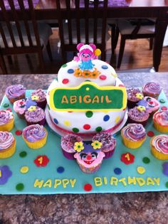Abby Cadabby cake and cupcake display. Made by me from Sweet Dreams Bakery!