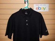 Men's Nike Golf Sphere Dry Polo Shirt size Large Oracle Logo Black Very Nice #NikeGolf #ShirtsTops