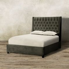 "Devereaux 63"" Upholstered Tufted King Bed in View Otter"
