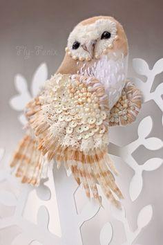 Miniature hand painted natural silk and cotton beaded textile 'ZIMUSHKA' Barn Owl Brooch ....................................................................................... by Julia Gorina