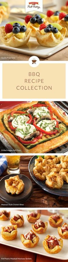 Pepperidge Farm Puff Pastry BBQ Recipe Collection. Every great BBQ deserves fantastic food! Don't miss this ultimate list of our favorite backyard cookout foods from spicy Mexican-Style Chicken Bites that pair perfectly with a cold beer, to Grilled Veggie Puff Pizza and perfectly pretty berry tarts. Throw an unforgettable event with these simple additions to your Memorial Day menu.