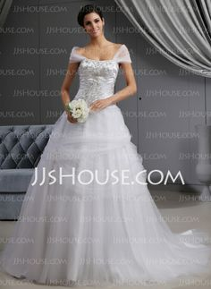 Wedding Dresses - $296.99 - Ball-Gown Off-the-Shoulder Cathedral Train Satin Tulle Wedding Dress With Embroidery Ruffle Beadwork (002022657) http://jjshouse.com/Ball-Gown-Off-The-Shoulder-Cathedral-Train-Satin-Tulle-Wedding-Dress-With-Embroidery-Ruffle-Beadwork-002022657-g22657