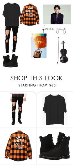 """""""BTS Forever Young violin cover_Drew"""" by gonzalessiblings ❤ liked on Polyvore featuring Topman, Timberland, men's fashion and menswear"""