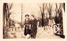 Black and White Vintage Snapshot Photograph 2 Women Dress Stone Fence 1920's