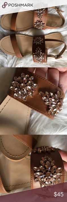 BCBG Jeweled Sandals Size 9 Really really wanted these but my wide foot wouldn't fit an 8 so I bought a 9.  They were too long. Tried to make them work but just like fetch, it isn't happening.  Worn once.  No missing jewels or flaws. BCBGeneration Shoes Sandals