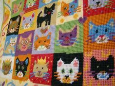 Happy cats! Kitten Caboodle tapestry. Patchwork style, stitches up quickly.