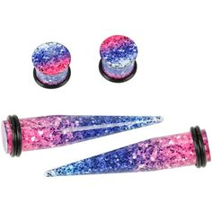 Hot Topic Acrylic Pink & Blue Glitter Taper & Plug 4 Pack (1.020 RUB) ❤ liked on Polyvore featuring jewelry, earrings, lucite jewelry, hot topic, lucite earrings, taper earrings and pink jewelry
