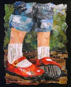 "Eileen Downes the collage artist who ""paints"" with bits of torn paper for a palette Love these red shoes. Paper Collage Art, Collage Artists, Color Collage, Collage Ideas, Round Robin, Torn Paper, Tissue Paper, Shoe Art, Mixed Media Collage"