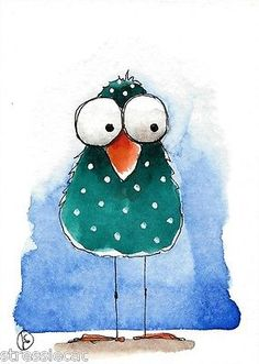 ACEO-Original-watercolor-whimsical-painting-folk-art-illustration-green-bird