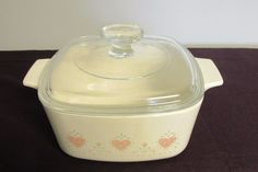 Vtg Corning Ware Forever Yours Casserole Dish 1.5 quart Pink Hearts off white  #CorningWare