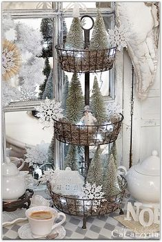 Beautiful Glitter & Glitz Putz House Multi-Level Bottle Brush Tree DIY Display Inspiration * What a great way to re-purpose an otherwise mundane household item!! Love it!!