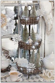 Beautiful Glitter & Glitz Putz House Multi-Level Bottle Brush Tree DIY Display Inspiration * What a great way to re-purpose an otherwise mundane household item!! Love it!!